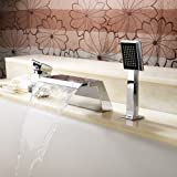 Lightinthebox Deck Mount Ceramic Valve Contemporary Solid Brass Bathroom Bath Tub Faucet with Pull Out Handheld Showerhead Mixer Taps Chrome Finish Stainless Steel Shower System Lavatory Roman Tub Faucets
