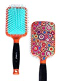 Paddle Hair Brush for Detangling & Styling - Ideal for Blow-drying, Straightening, Combing All Hair Types (Retro Buttons)