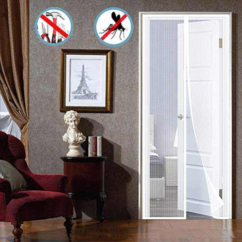 Magnetic Screen Door for French Doors Any Size Full Frame Hook&Loop Hands Free Hanging Curtain, Kids Friendly Exterior Doors Patio Doors - White 36