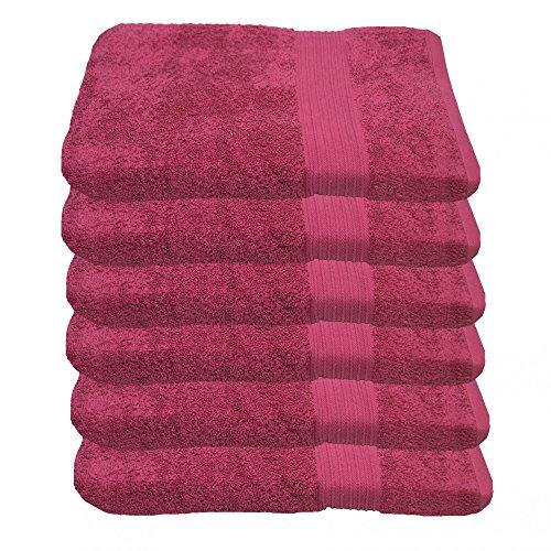 Julie Julsen 6 er Set Handtuch Pink 50 x 100 cm in 17 Farben erhältlich weich und saugstark 500gsm Öko Tex