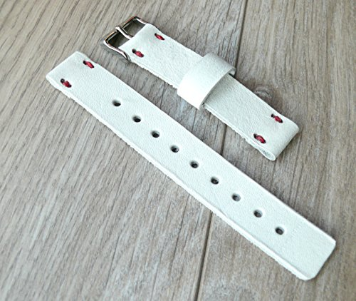White Handmade wrist watch band, 16mm, 18mm, 20mm, 22mm Handcrafted wrist watch strap, white band with red linen thread, Swiss watch band, genuine lea…