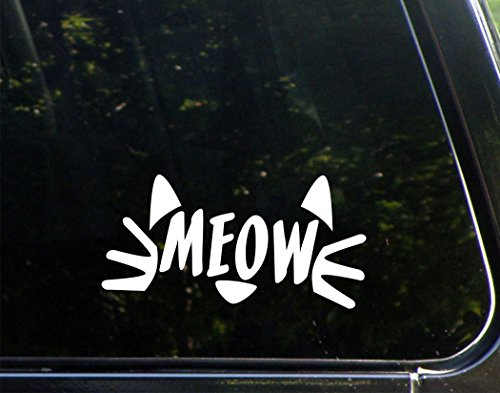 MEOW - 7-1/2' x 3-3/4' - Decal Sticker for Cell Phones,Windows, Bumpers, Laptops, Glassware etc.