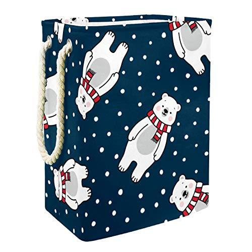 Kids Storage Basket Polar Bear Polka Dot Toy and Accessory Storage Bin Collapsible Organizer Storage Basket for Home…