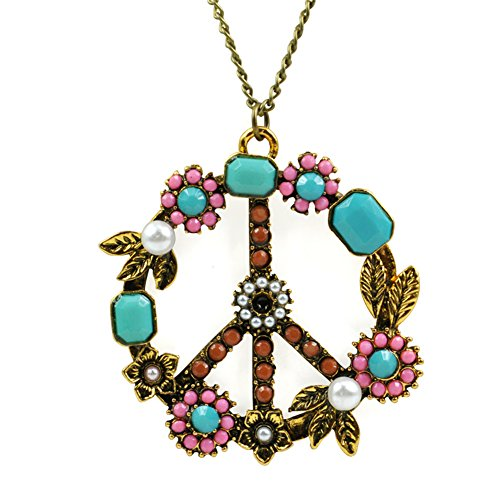 Topro Vintage Floral Pearl Rhinestone Peace Sign Pendant Long Chain Necklace (Peace Pendant Necklace)