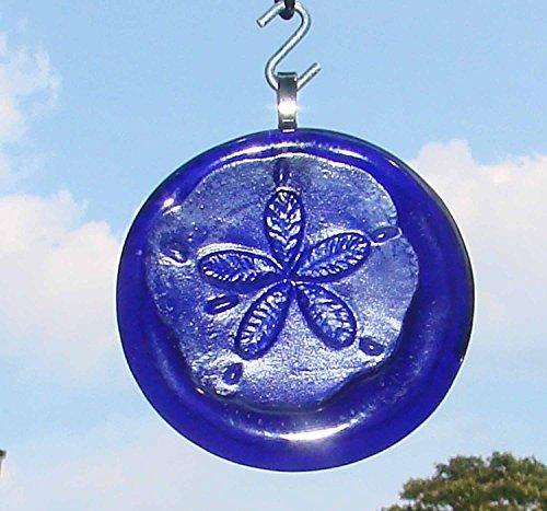 Cobalt Blue Sand Dollar Upcycled Glass Bottle Bottom Ornament Sun Catcher