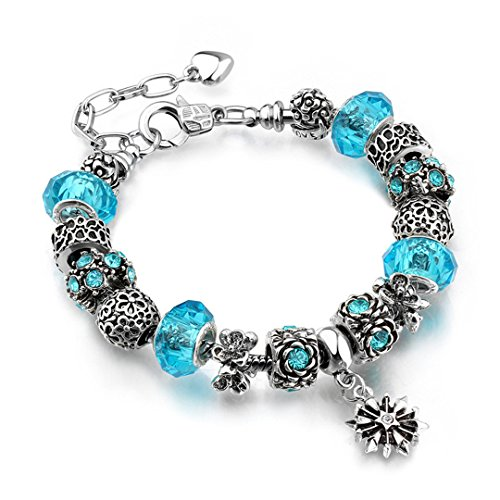 - Silver Charm Pan & Bangles Crystal Beads Charms Bracelets For Women Day Gift Party Jewelry Drop Shipping 2 20cm