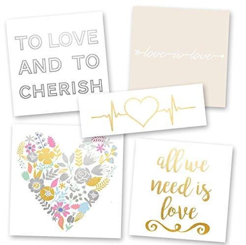 (LOVE-STRUCK VARIETY SET of 25 assorted wedding-inspired premium waterproof metallic gold & silver jewelry temporary foil party Flash Tattoos - flower, bracelet, heart, love, wedding tattoo)