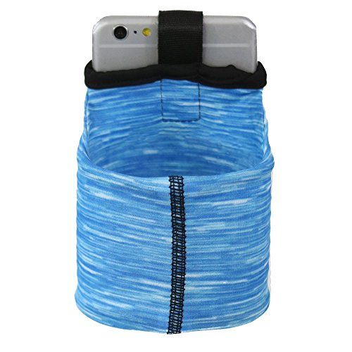Sprigs Armband for iPhone x/8/7/6 Plus, Galaxy S7/S6, Google Pixel XL. The Lightest & Most Comfortable Running Armband, Stretches To Fit All Phones With Case - Blue Melange, Medium by Sprigs (Image #2)