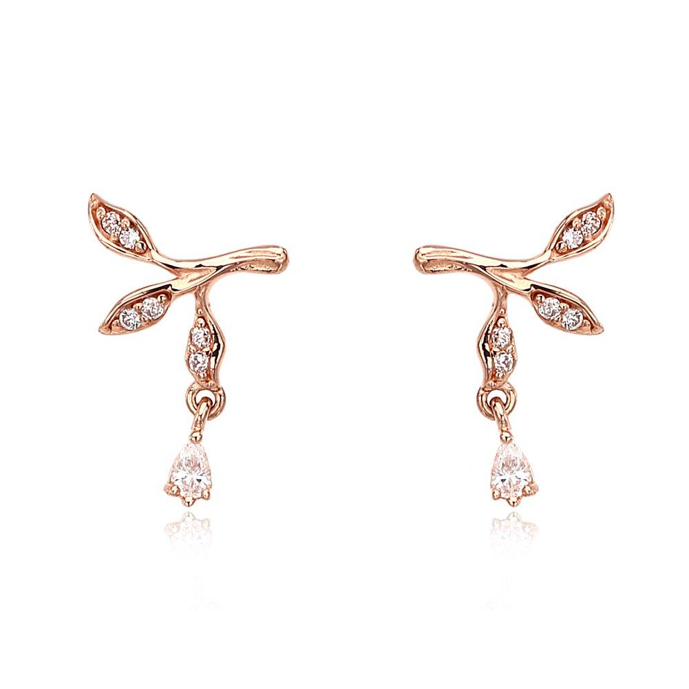 LA LUCE-PRIMARY   14K 585 Real Yellow Gold Earrings Leaf Shape Post Stud Earrings 1.1mm CZ 12EA