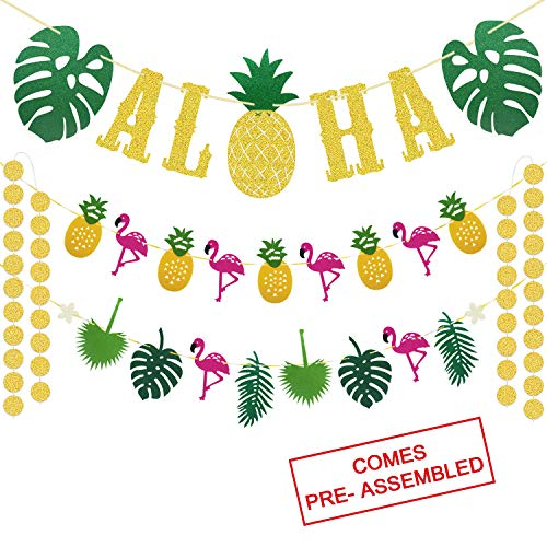 (Hawaiian Aloha Party Decorations - Large Gold Glittery Aloha Banner and Flamingle Pineapple Garland For Luau Party Supplies - Tropical Theme Summer Beach Pool Party Decorations - Luau Birthday Bachelorette)