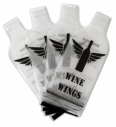 4 Pack Reusable Wine Bottle Protector Sleeve Travel Bag - Inner Skin with Tough Leak Proof Outside - Pack in Luggage and Suitcase - Accessory Gift by Wine Wings