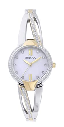 a748975af67ef Amazon.com: Bulova Crystal Mother of Pearl Dial Ladies Bangle Watch ...