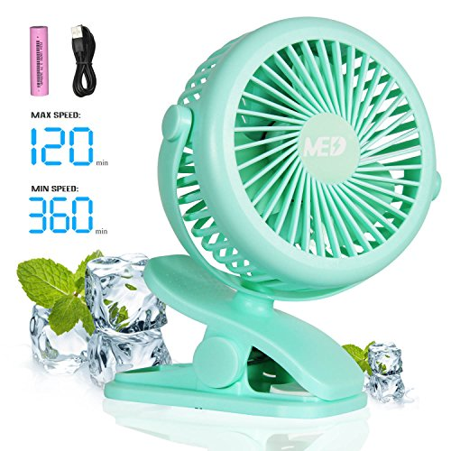 Mini Battery Operated Clip Fan,Sall Portable Fan Powered by Rechargeable Battery or USB Desk Personal Fan for Baby Stroller Car Gym Workout Camping (2018-green) by MED FAN