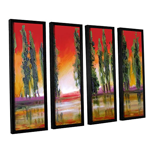 (ArtWall Susi Franco's Tuscan Cypress Sunset 4 Piece Floater Framed Canvas Set, 24 by 32