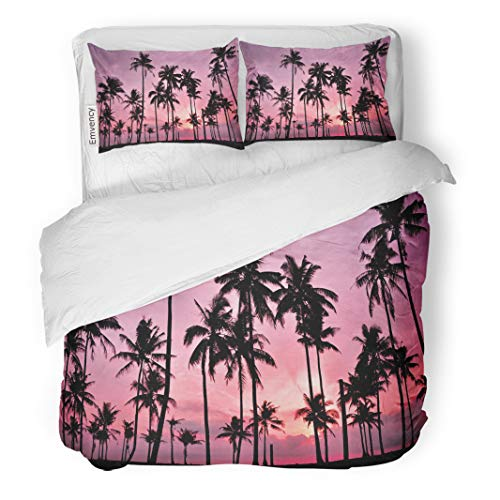 Semtomn Decor Duvet Cover Set Twin Size Colorful Palm Silhouetted of Coconut Tree During Sunset Red Beach 3 Piece Brushed Microfiber Fabric Print Bedding Set Cover