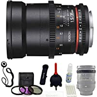Rokinon DS 35mm T1.5 Cine Full Frame Lens For Canon EF Mount + UV,Polarizer ,FLD 3 piece Kit + Giottos Large Cleaning Kit with Small Rocket Blaster + Lens Band & Cap Holder