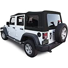 Sierra Offroad 2010-2015 4 DR JK Factory Style Soft Top with Tinted Windows, Black Twill Canvas