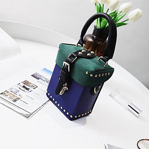 YTTY Hembra Golpeó el Color de Mano Pequeña Plaza Paquete de Moda LIU Paquete de Diagonal Simple Bolsa de Hombro, Azul