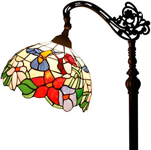 Tiffany Style Reading Floor Lamp Hummingbird Design Stained Glass Lampshade in 64 Inch Tall Antique Arched Base for Bedroom Living Room Lighting Table S101 WERFACTORY
