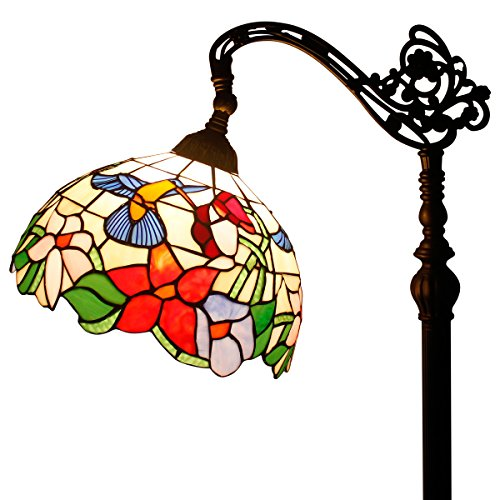Tiffany Style Reading Floor Lamp Hummingbird Design Stained Glass Lampshade in 64 Inch Tall Antique Arched Base for Bedroom Living Room Lighting Table Set S101 WERFACTORY