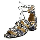 Design Lab Womens Eldy Faux Leather Block Heel Dress Sandals Blue 9 Medium (B,M)