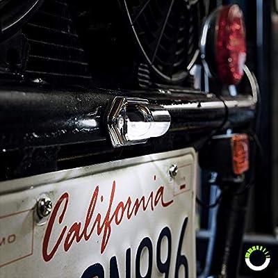 1pc Trailer LED License Plate Light [DOT FMVSS 108] [SAE L] [Chrome-Finish] [Surface Mount] [Waterproof] [12V - 24V DC] Courtesy Step License Plate Tag Lights for UTV ATV Trailer Truck RV Boat: Automotive