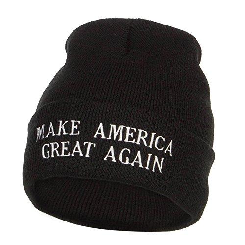 (e4Hats.com Make America Great Again Embroidered Long Beanie - Black OSFM)