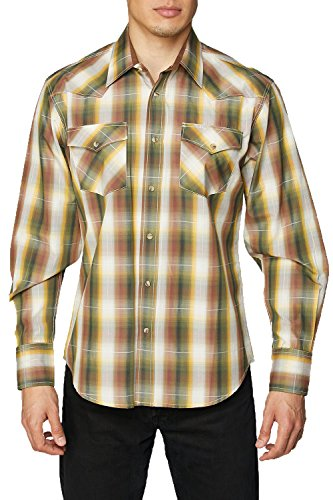 (Rodeo Clothing Co. Men's Western Cowboy Pearl Snap Long Sleeve Plaid Shirt)