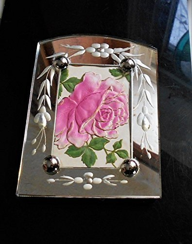 1920 Art Deco Etched Mirrored Frame of 1908 Embossed Rose 3-D Post Card Framed with Hanger Hook, Easel . ONE OF A KIND! by EMENOW