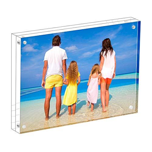 MeetU Acrylic 5x7 Picture Frame Two Sided Desk Photo Frame Magnetic Frame for Display Family Pictures Baby Photos Friends Pictures or Pet Dog Picture