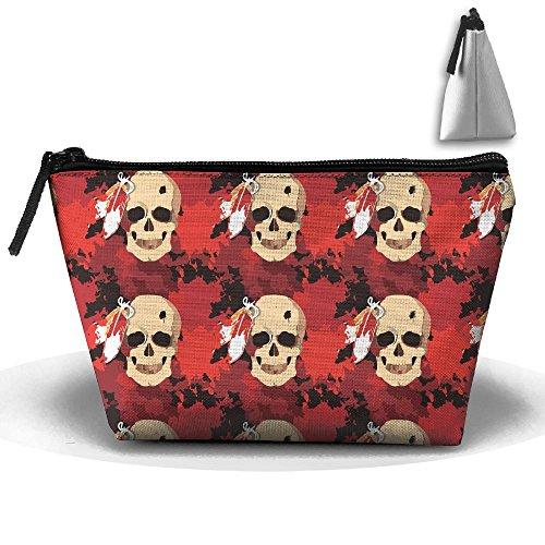 Indian Tribe Headdress Skull Makeup Bag Large Trapezoidal Storage Travel Bag Zipper Waterproof -