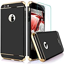 """iPhone 6/6S 6Plus 7 7Plus Case,[3 in 1 Series] Non Slip Surface Shockproof [With Tempered Glass] Electro Plating Texture Skin Protector [hard] For Apple iPhone 6 and iPhone 6s-(4.7"""") Gold/Black//Rose Gold/White/Blue/Red (iphone6, Black)"""
