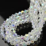80 FACETED BICONE CRYSTAL GLASS BEADS CLEAR AB 4MM / 6MM - BY STAR BEADS (4X3MM (80PCS))