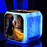 Beauty and The Beast 7 Colors Change Digital Alarm LED Clock Belle and Beast Prince Cartoon Night Colorful Toys for Kids Gift (Style 4)