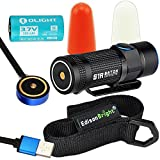 Olight S1R Turbo S USB rechargeable 900 Lumen CREE LED Flashlight, traffic wands (White/Orange) with EdisonBright brand holster