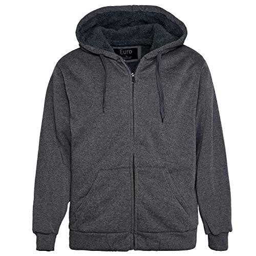 Erin Garments Mens Zip Front Hoodie Oversized Heavyheight Sherpa Lined Sweatshirt Black Grey Long Sleeve Jacket (X-Large, Dark Grey)
