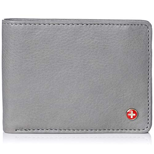(Alpine Swiss Mens RFID Safe Leather Wallet Slim Flip-out Bifold Trifold Hybrid Soft Nappa Gray)