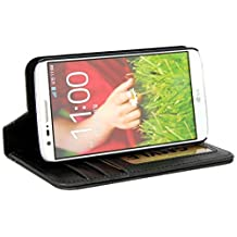LG G2 Case, GMYLE Book Case Vintage for LG G2 - Black PU Leather Magnetic Book style Flip Slim Fit Case Cover (with 3 card slots and money pocket)