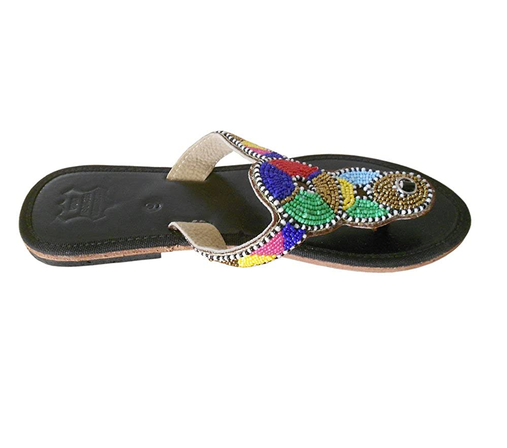 Kalra Creations Womens Traditional Indian Slippers Shoes Leather with Sequence Work Loafer Flats