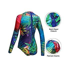 - 51wi9UIQo L - AXESEA Womens Long Sleeve Rash Guard UV UPF 50+ Sun Protection Printed Zipper Surfing One Piece Swimsuit Bathing Suit