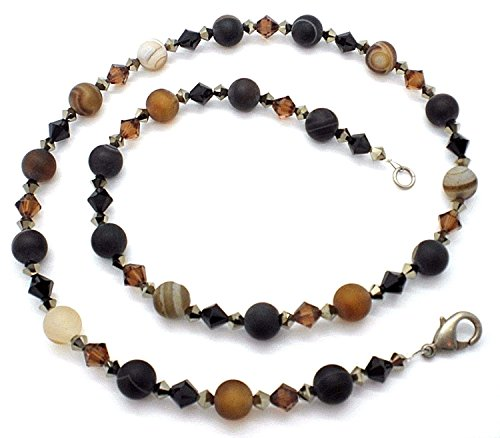 Banded Matte Brown Agate Mocca Jet Metallic Gold Austrian Crystal (Brown Banded Agate)