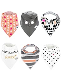 Baby Bandana Drool Bibs for Drooling - Teething By BG Mini 6 Pack Absorbent Organic Cotton Gift Set For Girl