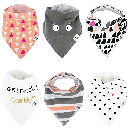 Essentielle Gift Set - Baby Bandana Drool Bibs for Drooling - Teething By BG Mini 6 Pack Absorbent Organic Cotton Gift Set For Girls