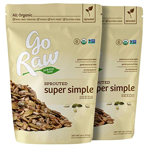 Go Raw Organic Sprouted Super Simple Pumpkin & Sunflower Seed Mix (pack of 2 x 16-ounce bags) (Super Nut)