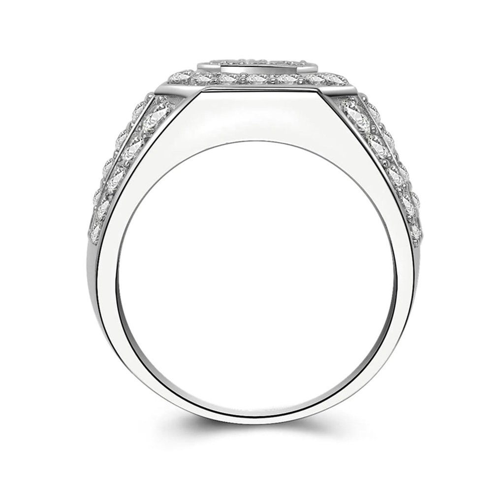 Bishilin Silver Plated Cubic Zirconia Inlaid Wedding Ring Eternity Band For Men Size BISHILIN5X6JRS244M8