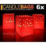 6x Candle Bags Medie Rosse Cuori -Sacchetti Porta Candela da tavolo
