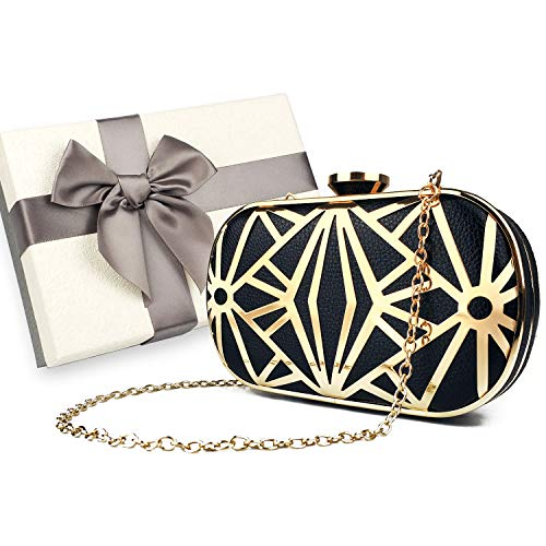 Luxury Clutch Bag,Evening Bag Prom Handbag Purses for Wedding and Party, Formal Cocktail Clutch Purse, with Gift Box (Black-Gold ()