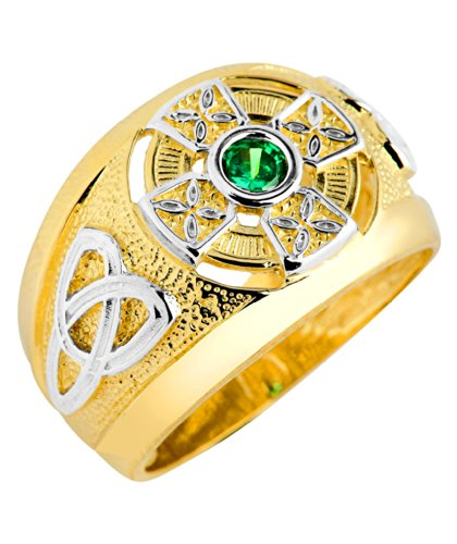 - Men's 10k Two-Tone Gold Trinity Knot Band Solitaire Green CZ Celtic Cross Ring