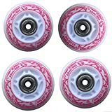 you-like-you-won Led Inline Skates Pu Wheels Outdoor Indoor Rollerblades Rubber Light up Wheels Pink 80A 80mm-4 Pack
