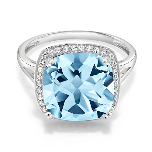 Gem Stone King 10K White Gold Sky Blue Topaz and White Diamond Ring 8.54 Ct Cushion Cut Center Stone 12mm Available 5,6,7,8,9
